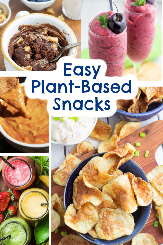 plant based snacks photo collage for pinterest