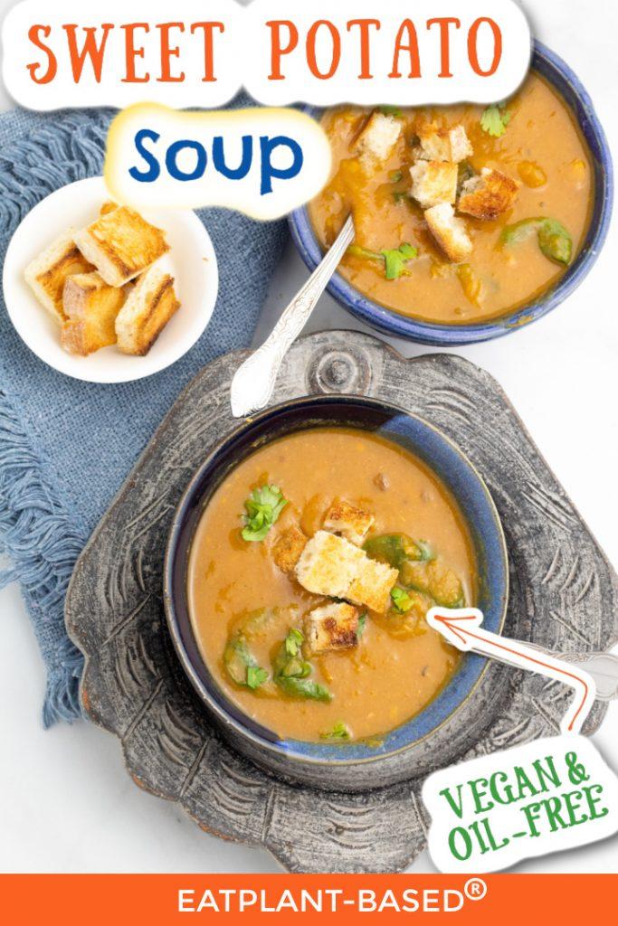 vegan sweet potato soup photo collage for pinterest