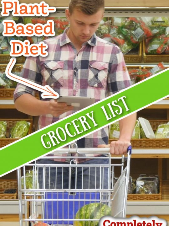plant based grocery list photo collage