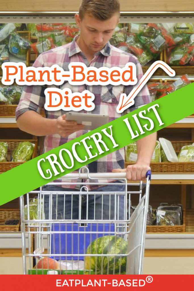 plant based diet grocery list photo collage for pinterest