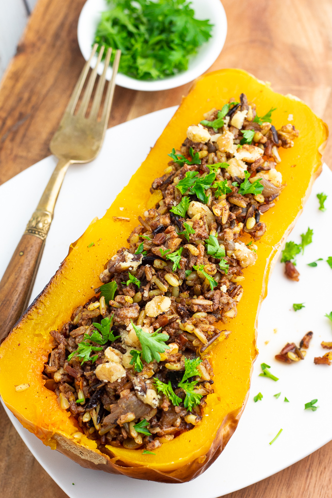 baked butternut squash stuffed with wild rice