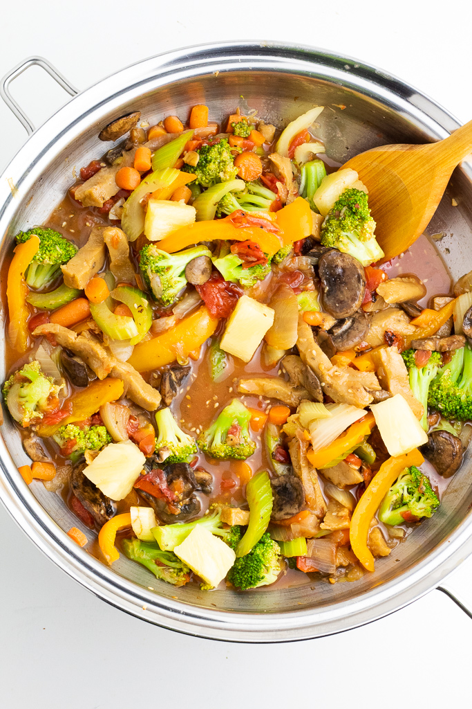 sweet and sour mixed vegetables in wok