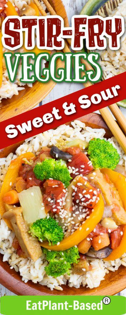photo collage of vegan stir fry for pinterest