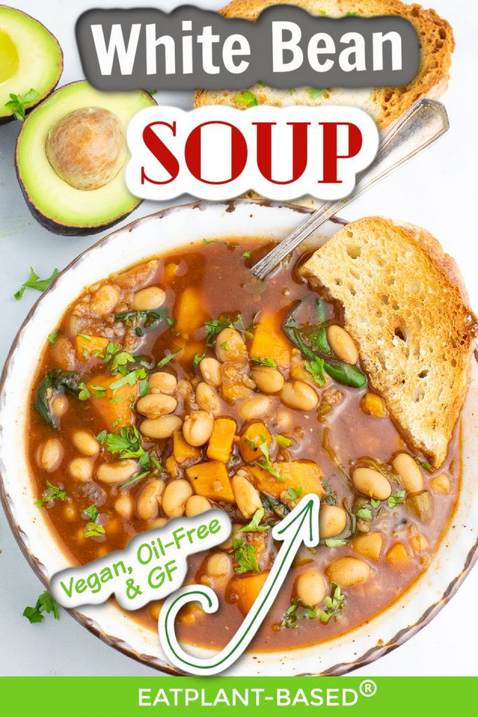 white bean soup photo collage for pinterest